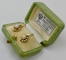 "Napoleon III pearl ""crown"" dormeuses earrings 18kt gold & Platinum - NO RESERVE"