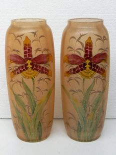 A pair of Art Nouveau vases with enamel decorations
