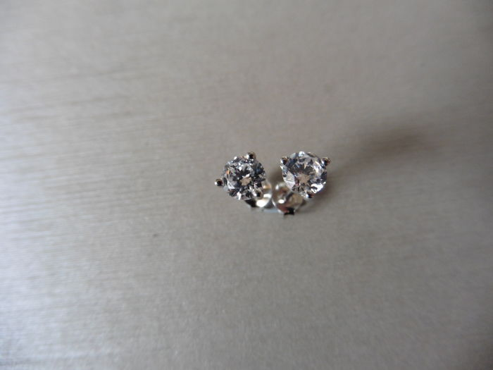 Platinum Diamond Solitaire Earrings - 1.00ct