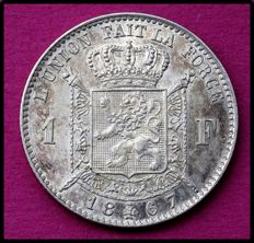 Belgium - 1 franc 1867 (French) Leopold II - silver
