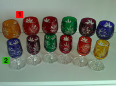 2 x 6 pieces high quality colourful lead crystal glasses (aperitif / liqueur / schnapps) - 24% PbO in the colours shown