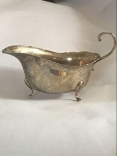 Silver sauce boat, Birmingham, 1936 and a silver napkin ring