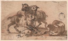 Attributed to Karel Dujardin ( 1626 - 1678)- Animated washed ink drawing of dog and sheep - 17th century