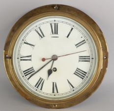 Great old brass ship's clock with seconds display (mechanical).