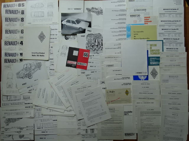 1961 - 1986 - RENAULT 4, 8 Gordini, 16, Dauphine Gordini, Caravelle 1100 S, 8 S, 10 Major, 4 Parisienne, Rambler Marlin, etc etc  - Mixed lot of technical drawings & specifications