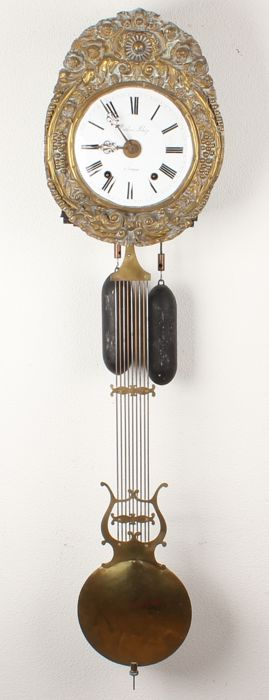 French comtoinse clock with anchor escapement and harp pendulum - Mathieu Blaze à Langon - 19th century