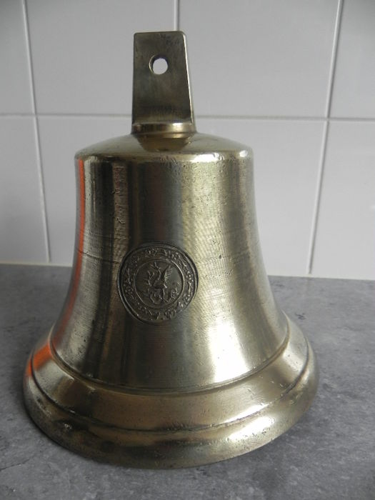 Antique brass ship's bell with shipping company stamp