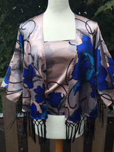 Joseph Ribkoff – Ensemble of a top and cardigan with fringes
