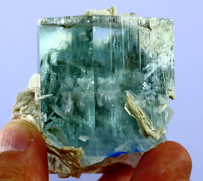 Gem Quality Sky Blue Aquamarine Crystal - 47 x 42 x 26mm - 128gm