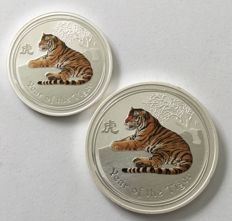 Australa – 50 cents & 1 dollar 2010 'Year of the Tiger' coloured – ½ oz & 1 oz silver