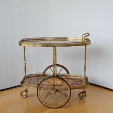 Producer unknown - Faux Bamboo brass bar trolley with wood inlay - Hollywood Regency Style