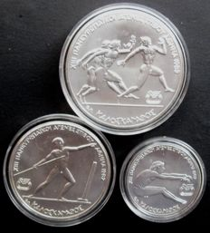 Greece – 100, 250 and 500 drachma 1981 'Olympic Games' (3 different) – silver