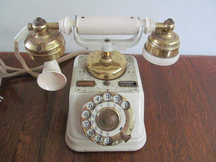 Antique telephone with a porcelain receiver, first half of the 20th century, Belgium
