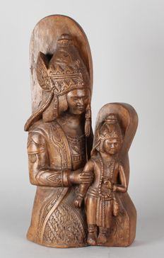Hand-carved statue of Maria with child – Bali – Indonesia – mid 20th century