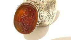 Silver ring, agate Arabian text - Afghanistan - ca. 1900
