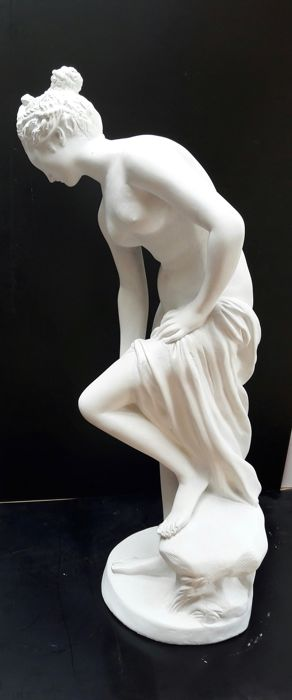 "Very large plaster statue of the goddess ""Venus the Bather"" after Christophe Gabriel Allegrain"