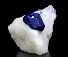 Perfect Royal Blue Lazurite With Calcite Specimen - 56 x 61 x 74 mm - 230 gm