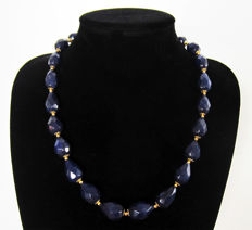 Facetted sapphire necklace - 14 kt gold - length: 46.5 cm