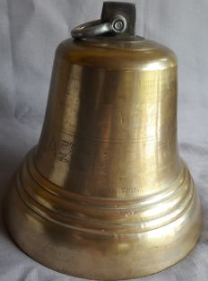 Very large copper/brass Bell with clapper and allemansend