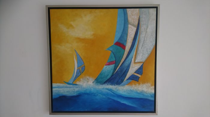Oil painting / acrylic paintings on canvas. Sailing boats, Sylvana, painted at the late 20th century.