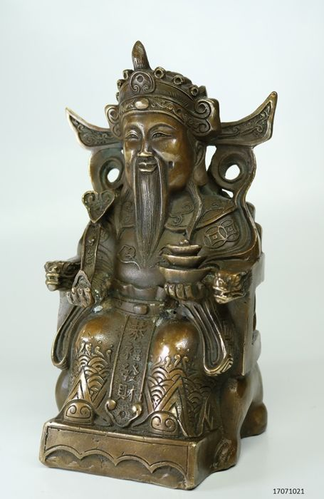 Bronze image of Yuanboa, god of wealth – China – Late 20th century