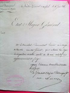 L.A.S of General Lamarque Chief of staff of the French army in the Kingdom of Naples June 11, 1808