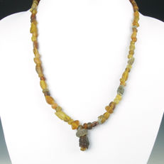 Necklace with Roman amber coloured glass beads - 50 cm
