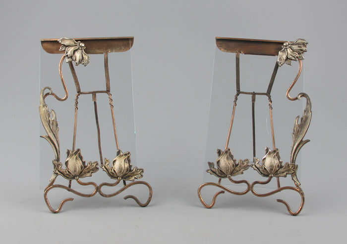 A pair of Art Nouveau picture frames in silver plated brass