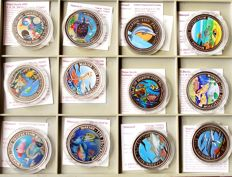 World - lot of 12 different coins - 1992/2000 - Marine-Life Protection with animal motifs and certificate