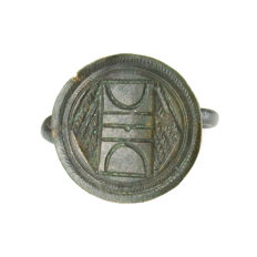 Medieval silver ring with symbols - 19 mm
