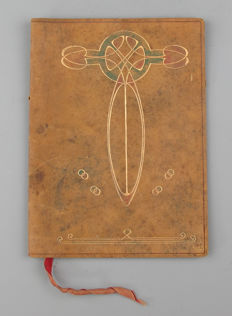 Art Nouveau leather book cover - folder