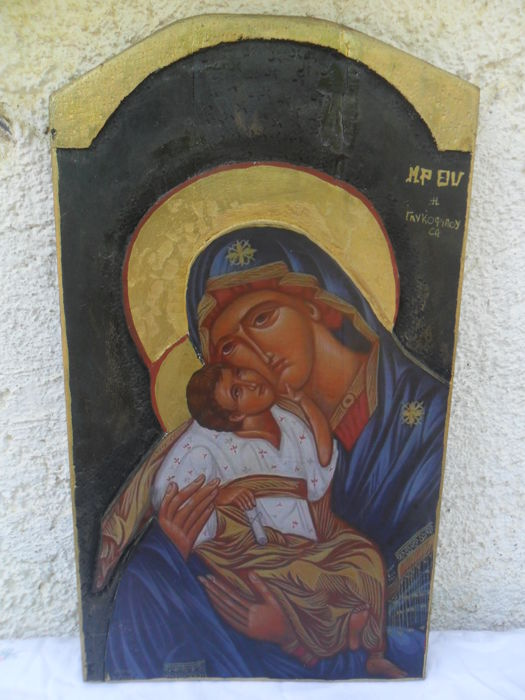 Mother of God icon - mahogany - Russia - 20th century