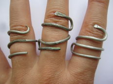 Сeltic twisted silver snake rings - 18,19,20 mm (3 items)