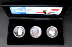 "Benelux – 10 Guilder coin 1994 + 250 Francs 1994 (2x) ""50 Years of Benelux"" (3 pieces), in set – silver"
