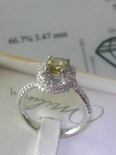 Ring - Diamond  (1.04 ct) with diamonds F/G  totalling 0.80 ct - size 15