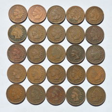 United States - Copper 75 grams in 25 Indian Head Cents 1889/1908
