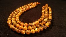 Baltic Amber landscape colours necklace, first string length 44 cm