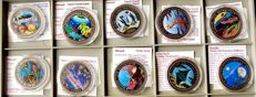 World - lot of 10 different coins - 1993/2000 - Marine-Life Protection with animal motifs and certificate