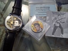 Elvis Presley Molnija XL skeleton mariage men's wristwatch plus Elvis 80th birthday memorial half dollar coin