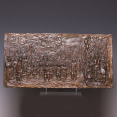 Jules Anthone (1858-1923) - Optocht - Bronze plaque - Circa 1900, Belgium