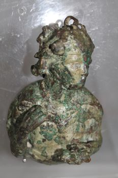 Roman bronze weight with Dionysus representation height 12cm, width 7cm