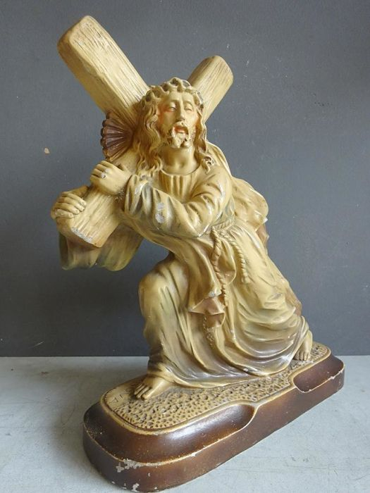 Reasonably large plaster statue of Jesus bearing a cross - Belgium - circa. 1950