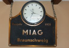 Old cast iron company clock Miag Braunschweig with Siemens clock from 1935