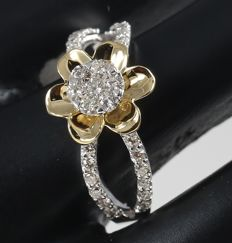 IGI Certified Yellow Gold 0.61 ct. Designer Diamond ring - Ring size : 54 (FR) and 17 NL