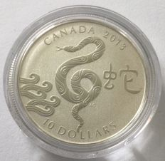 Canada - 10 dollars 2013 'Year of the Snake' - silver