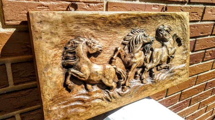 Huge  Vintage Bas-relief Hand carved horses of rosewood,  ca. second half 20th century