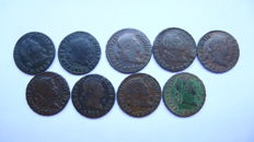 Lot of 9 coins of 2 maravedis each - Ferdinand VII - Segovia - Various years