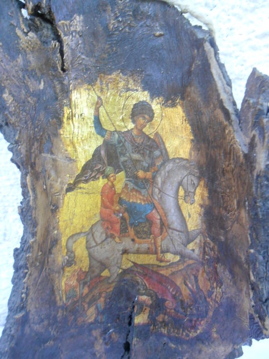 Saint Georg Byzantine unique icon - Russia  20th century