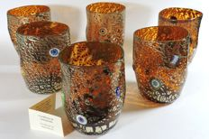 Murano - set of 6 Goti in amber and silver leaf