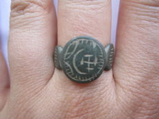 Medieval cossac bronze ring with moon and star d19 mm